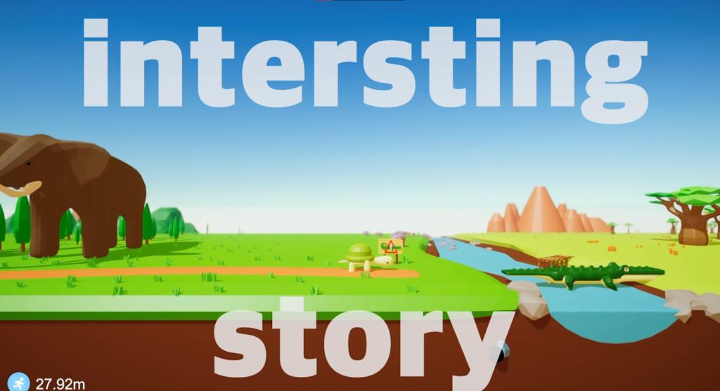 """Stilbide fra spillet slow and steady med teksten """"interesting story"""" over"""