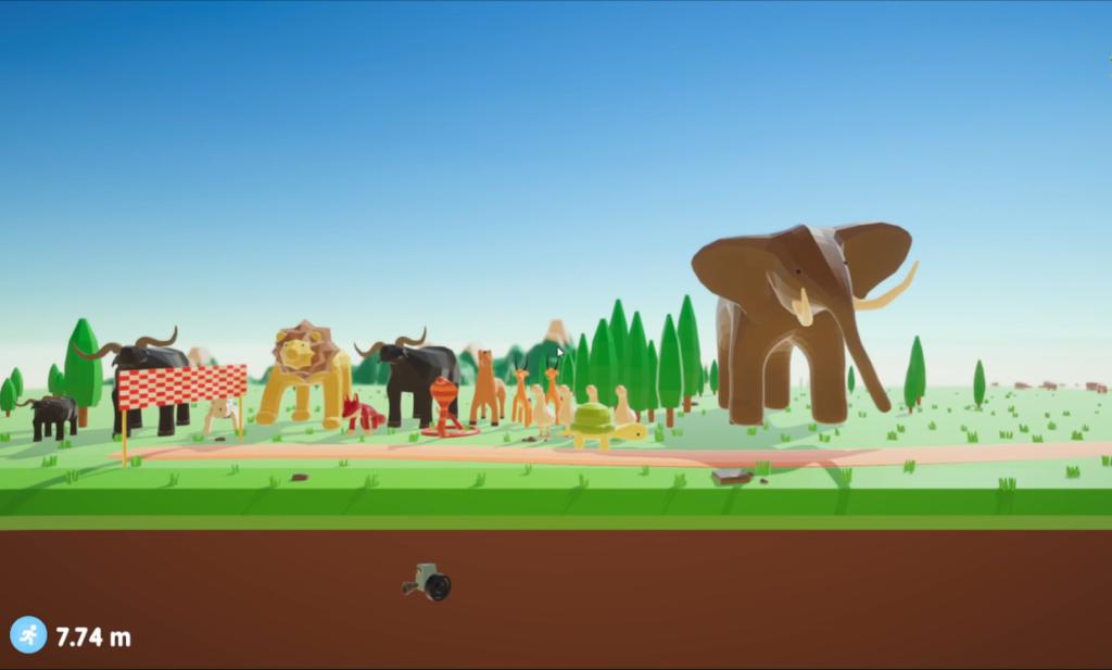 Stilbilde fra spillet slow and steady som viser den farverike verden og alle karakterene